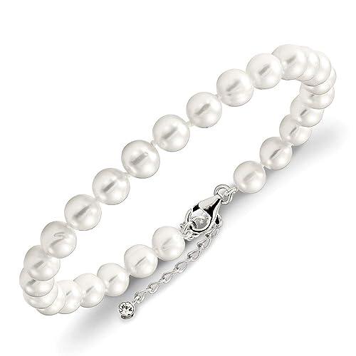 Plata de ley 7 - 8 mm perla cultivada en agua dulce y circonita cúbica con tobillera Ext de 5 cm - 23 centímetros: Amazon.es: Joyería