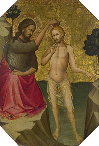 High Quality Polyster Canvas ,the Vivid Art Decorative Prints On Canvas Of Oil Painting 'Lorenzo Monaco-The Baptism Of Christ,1387-8', 20x29 Inch / 51x75 Cm Is Best For Garage Gallery Art And Home Gallery Art And Gifts