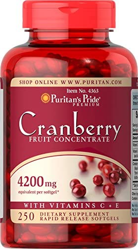 Puritans Pride Cranberry Fruit Concentrate with C E 4200 Mg, 250 Count