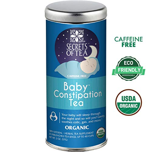 Secrets of Tea - Baby Organic Constipation Relief Tea Anti-Colic Calm Tea - Baby Tea Soothes Acid Reflux, Newborn Tummy Digestion, Promotes Better Sleep - Safe & Healthy Colic Relief Tea
