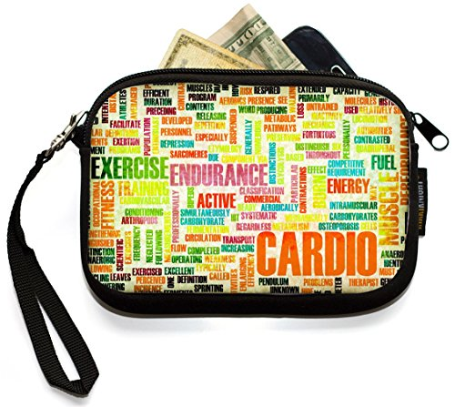 Rikki Knight Cardio Sports Word Play - Neoprene Clutch Wristlet Coin Purse with Safety Closure - Ideal case for Cosmetics Case, Camera Case, Cell Phones, Passport, etc.. (Sport Clutch Muscle)
