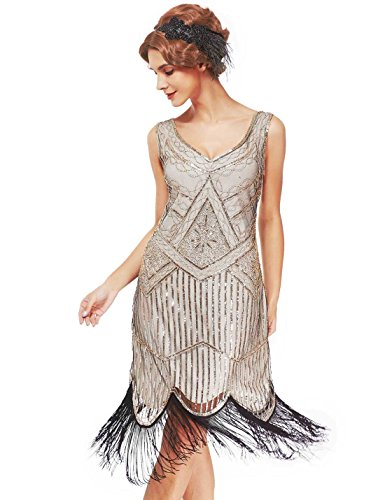 Women's Roaring 20s V-Neck Gatsby Dresses- Vintage Inpired Sequin beaded Flapper Dresses (S, beige) -
