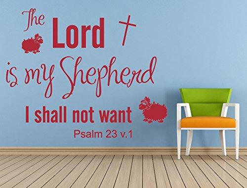 Psalm 23 NIV Christian Bible Verse Quote, Vinyl Wall Art Sticker, Mural, Decal. Home, Church, School Decor. The Lord is my Shepherd, Children's bedroom, (British Isle Bedroom)