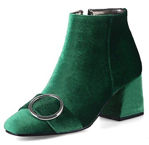 Aisun Kvinna Trendiga Fyrkantig Tå Spänne Rem Tossor Dressat Mitten Blocket Häl Inuti Zip Upp Kängor Med Dragkedja Gröna