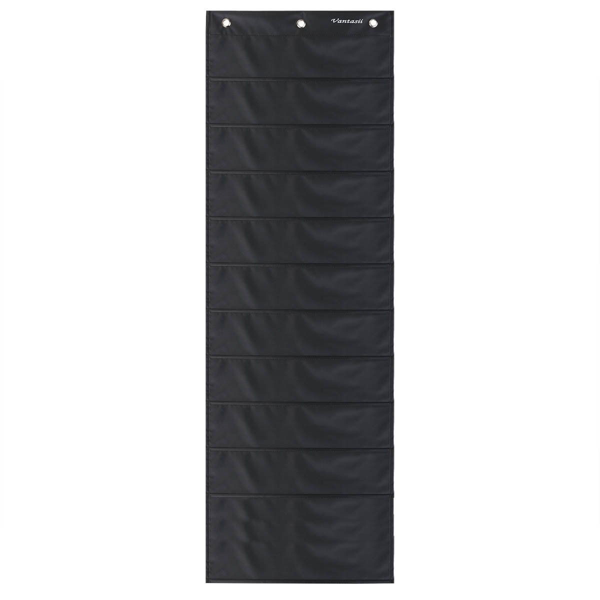 2 Pack Storage Pocket Chart, Wall hanging File Organizer Folder with 10 large Pockets for Office, Home, School, Studio, etc. 14 X 47 inch, BLACK, Mountings included. by Vantasii (Image #1)