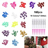 OWUDE 160Pcs Pet Nail Caps - Soft Cat Paws Grooming Claws Control Covers - 9 Colorful Kitten Nails Caps + 7 Glitter Colors + 8Pcs Adhesive Glue + 8Pcs Applicator with Instructions (Medium)