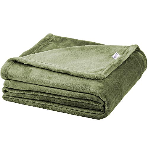 Soft Fleece Throw Blanket – Plush Blanket for Bed or Couch - Fuzzy Flannel Blanket for Bedroom, Living Room and Travel – Olive, Twin Blanket by Blissford
