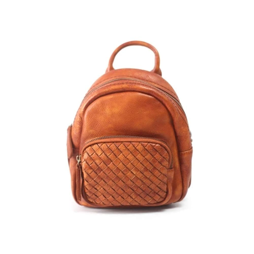 Backpack Lady Backpack Retro Art Handmade Leather Small Bag Leather Mini Wild Woven Shell Bag 14/×17/×9CM Multipurpose Daypacks