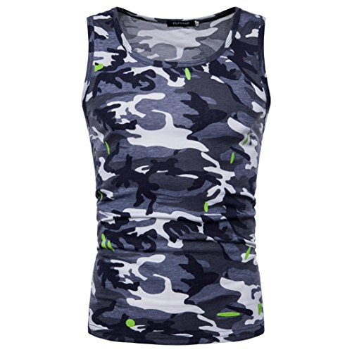 Mens Tank Top ! Charberry Mens Camouflage Sleeveless Printed Tank Top Casual Camouflage Print O Neck Sleeveless T-shirt Top Vest Blouse (US-L/CN-XL, Gray)
