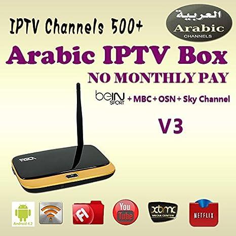 MU Árabe África Europa IPTV Box 500 canales de TV Vigica V3 Tv receptor Set Top Box XBMC Media Android Reproductor Smart TV Box con Wifi: Amazon.es: Electrónica