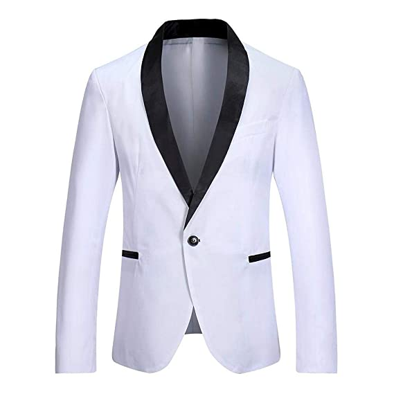 HX fashion Moda Hombre Ocio Empalme Color Un Botón Blazer Slim Tamaños Cómodos Fit Traje Chaquetas Hombres De Negocios Traje Escudo Ropa: Amazon.es: Ropa y ...