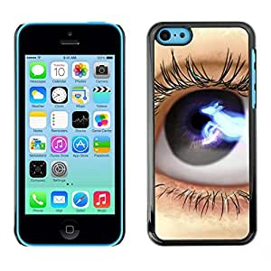 All Phone Most Case / Hard PC Metal piece Shell Slim Cover Protective Case for Apple Iphone 5C Eye Blue Black Space Lashes Close Up