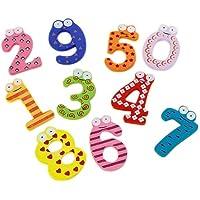 10pcs Numéros 0-9 Aimants en Bois de Réfrigérateur pour Enfants