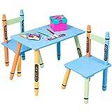 Imtinanz Modern Style 3-pcs Wood Crayon Kids Table & Chairs Set