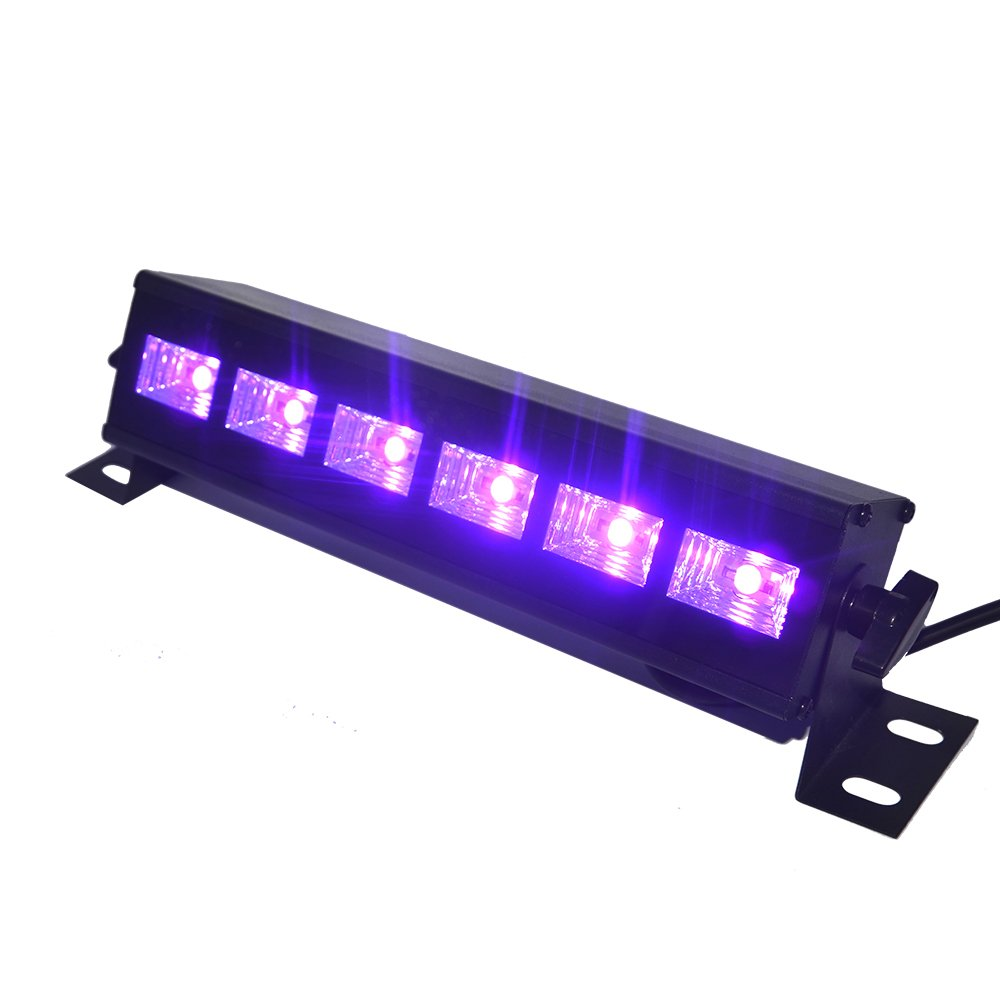 UV LED Bar, Exulight Black Lights with 3W x 6 LEDs UV Bar for Parties Halloween Club Metal Housing