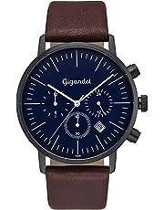 Gigandet Herren Uhr Analog Quarz mit Leder Armband G22-002