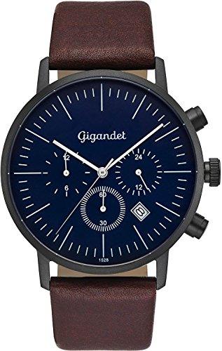 Gigandet Men's Quartz Watch Minimalism III Dualtime Analog Leather Strap Black Brown Blue G22-002