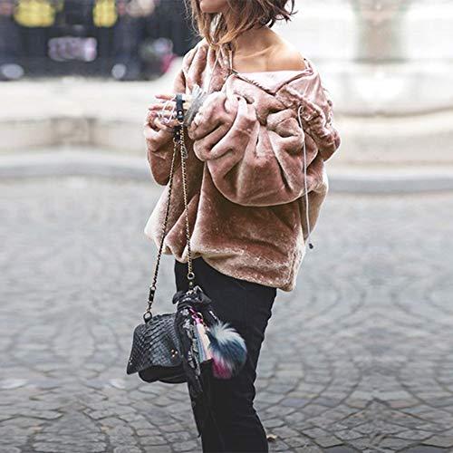 Acrilico Velluto Rosa Velato A Donna Con Bicolore Da B In Cappuccio Donna Vovotrade Lunghe Maglione Maniche Caldo Invernale RqPaA6Z
