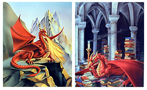 Impact Posters Gallery Red Fire Dragon Sue Dawe Fantasy Two Set Wall Decor Art Print Picture (8x10)