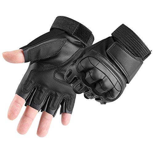 accmor Military Hard Knuckle Tactical Combat Gloves Fingerless/Half Finger Fit for Cycling Motorcycle Hiking Camping Airsoft Paintball (S, M, L, XL)