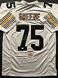 "Autographed/Signed Mean Joe Greene""HOF 87"" Pittsburgh White Football Jersey JSA COA"