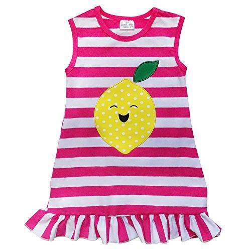 So Sydney Girls Toddler Baby Infant Summer Dress or Ruffle Baby Bubble Romper (S (3T), Lemon Smile Hot Pink Stripe)