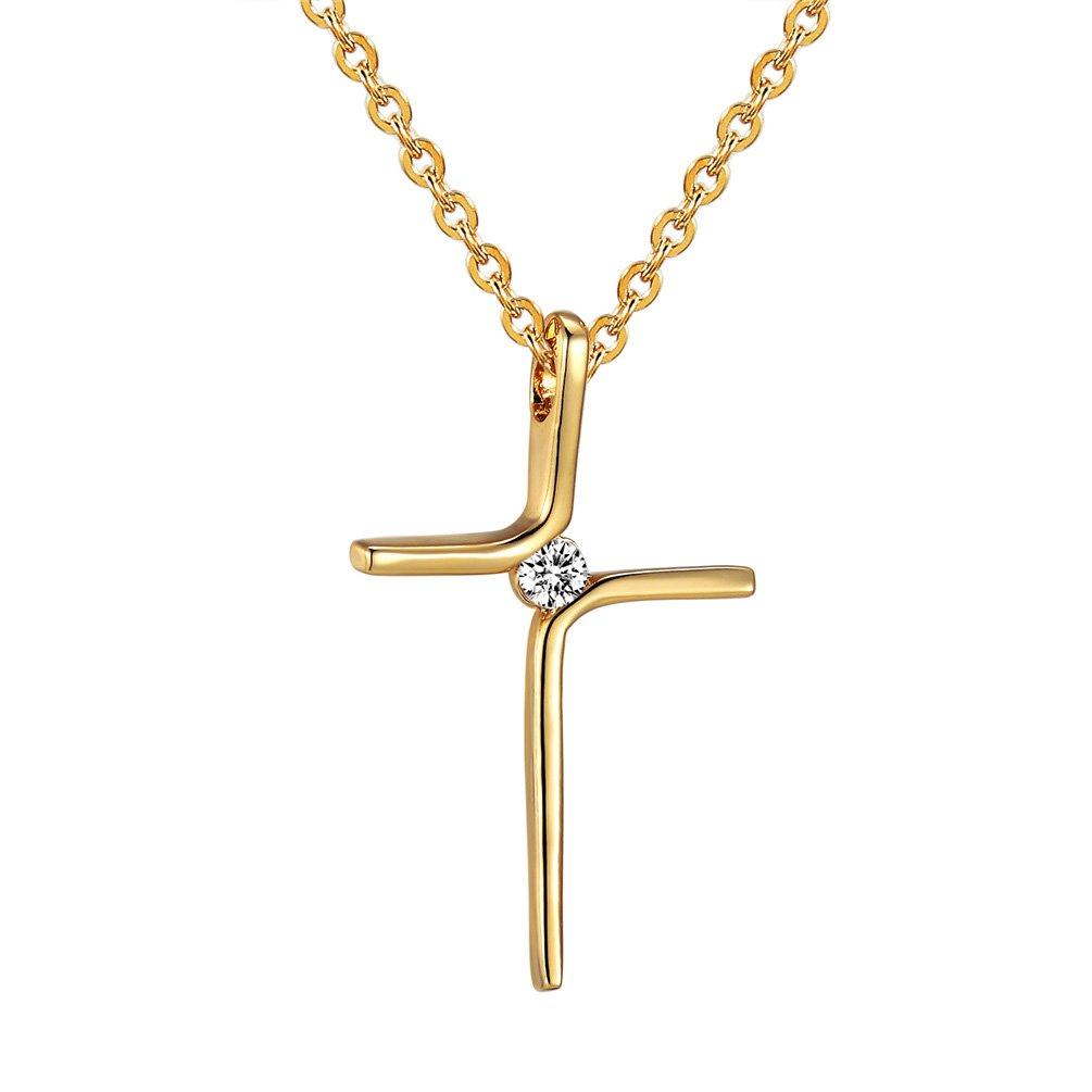 PROSTEEL Edelstahl Schmuck Speziell Design Kreuz mit Zirkonia Anhänger Halskette Christlich Kreuzanhänger für Mädchen Damen Gold PSP2696J