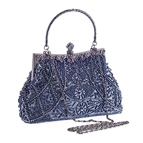 Lovely Champagne Sequin Stylish Color Handbags Blue Beaded Women's Evening Rabbit Vintage rXT67rz