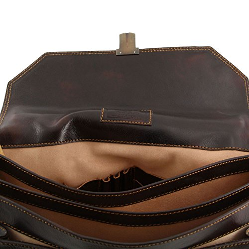Tuscany Leather Leather Brown Brown Dark compartments briefcase 3 Roma 7x7wqPrA6