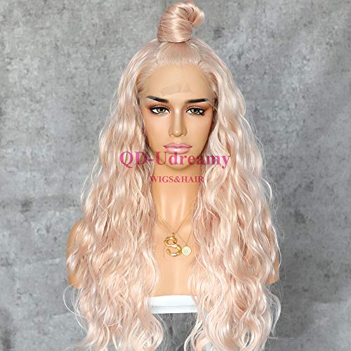 QD-Udreamy Peach Blonde Mixed Color Synthetic Lace Front Wigs Natural Long Wavy Party Wigs Heat Resistant Synthetic Hair Wigs for Women ...