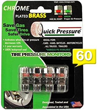 Quick Pressure QP-000060 Chrome Plated Brass 60 psi Tire Pressure Monitoring Valve Cap, Pack of 4