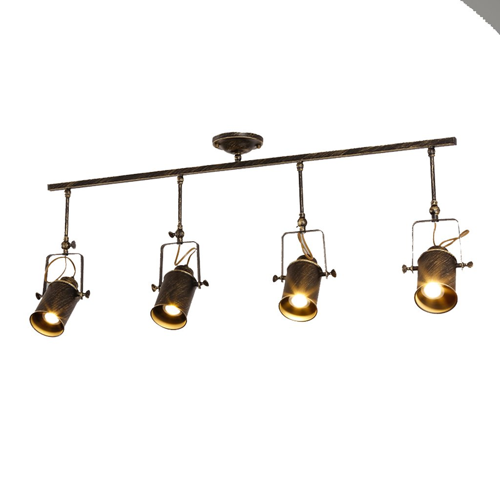 MGSD Spotlight, Retro Industrial Wind Clothing Shop Living Room Bar Lighting Equipment Background Wall Ceiling Long Track Rail Type Bronze 4 Head (without Rod) Spotlight Energy A + A+ by PM Track Lighting