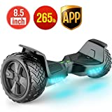 TOMOLOO Self-Balancing Scooter UL2272 Certified 8.5' Wheel Hoverboard with RGB Lights Bluetooth Speaker Customizable App (Black)