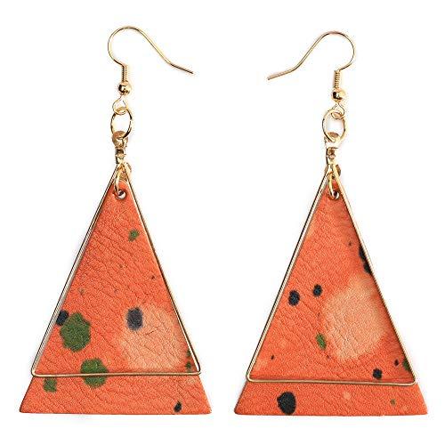 Genuine Leather Statement Earrings Triangle Geometric Leather Dangle Drop Geometric Lightweight for Women Girls (Orange)