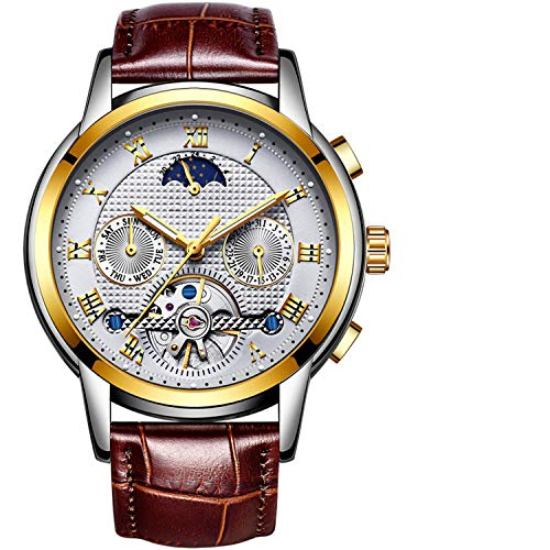 Mens Watches Top Brand Luxury Automatic Mechanical Watch Men Full Steel Business Waterproof Sport Watches,Leather Gold White
