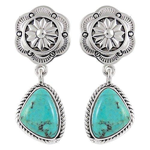 Turquoise Earrings In 925 Sterling Silver & Genuine Gemstones