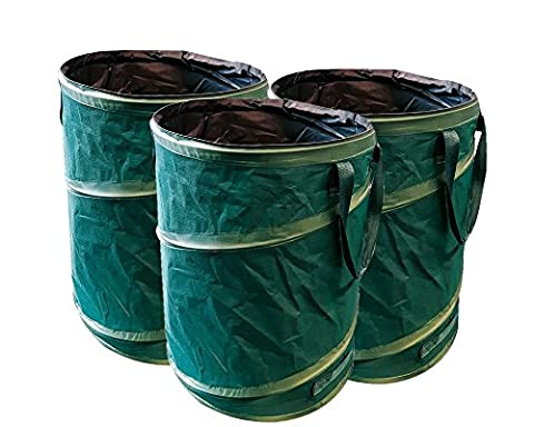 GloryTec 3-pack Pop Up Garden Bags | 45 Gallons Per Bag | Reusable Yard Waste Bags | Collapsible Container with Spring Bucket | Portable Bags