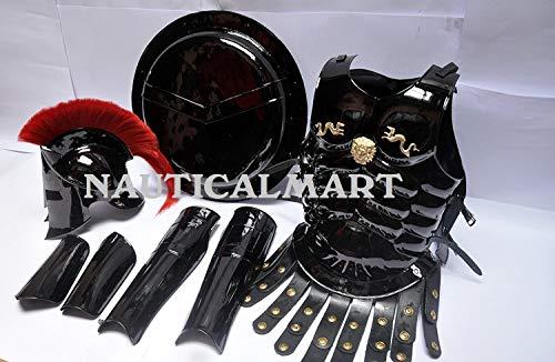 NAUTICALMART Medieval Roman King Leonidas 300 Spartan Helmet W/Red Plume + Muscle Armor + Shield + Leg Or Arm Guard ()