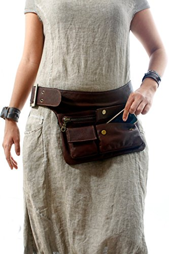 Brown Leather Hip Bag, bum bag, fanny pack, travel pouch, belt pocket by Ruth Kraus