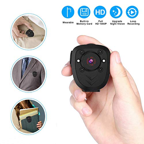 Portable Camera 1080P Wearable Camera Battery Powered Mini Sports Camera Worn Camera with Night Vision/Loop Recording Cop Cam, Built-in 16G TF Card