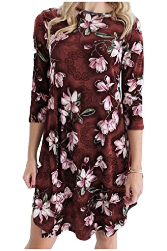 Cocktail Long Neck Dress Party Coolred Chic O Printed Women Floral Red Mid 64wnxgzAq