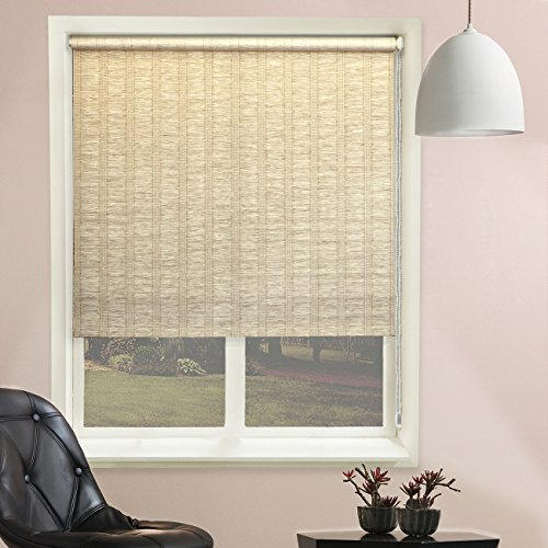 "Chicology Continuous Loop Beaded Chain Roller Shades / Window Blind Curtain Drape, Natural Woven, Privacy - Florence Sand, 27""W X 64""H"