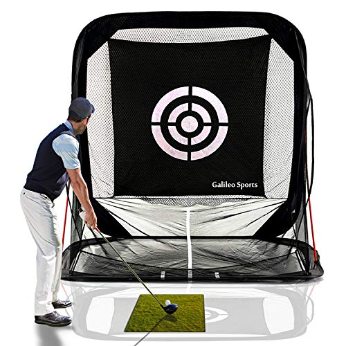 GALILEO Golf Nets Golf Hitting Net Training Aid Driving Range 8'(L) X7'(H) X7'(W) Pop Up Automatic Ball Return for Backyard Driving with Target&Carry Bag ()