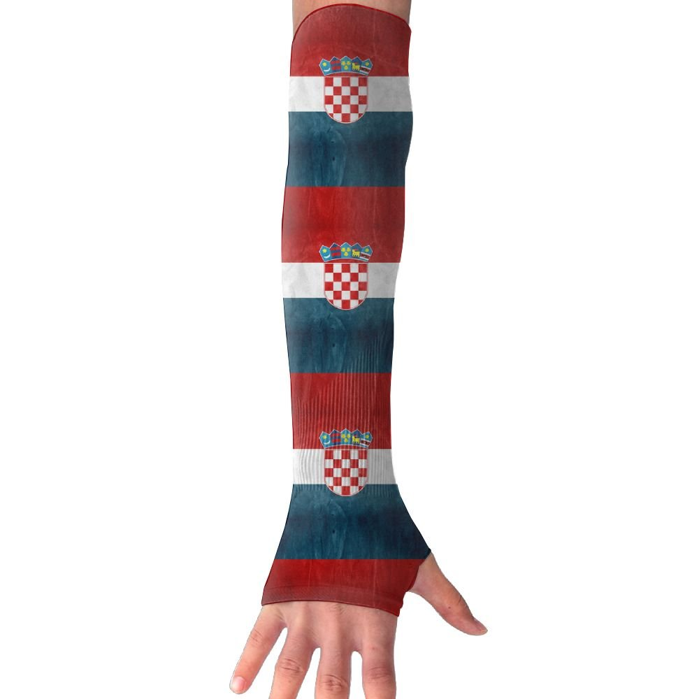 Unisex Vintage Style Croatia Flag Sense Ice Outdoor Sports Arm Warmer Long Sleeves Glove