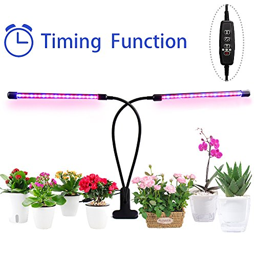 Led Grow Light 40 LED 5 Dimmable Levels Plant Grow Lights with 360° Flexible Gooseneck for Indoor Plants Hydroponics Greenhouse Gardening Plant by JY OUTDOOR, 3/9/12H Timer,18W Dual Head