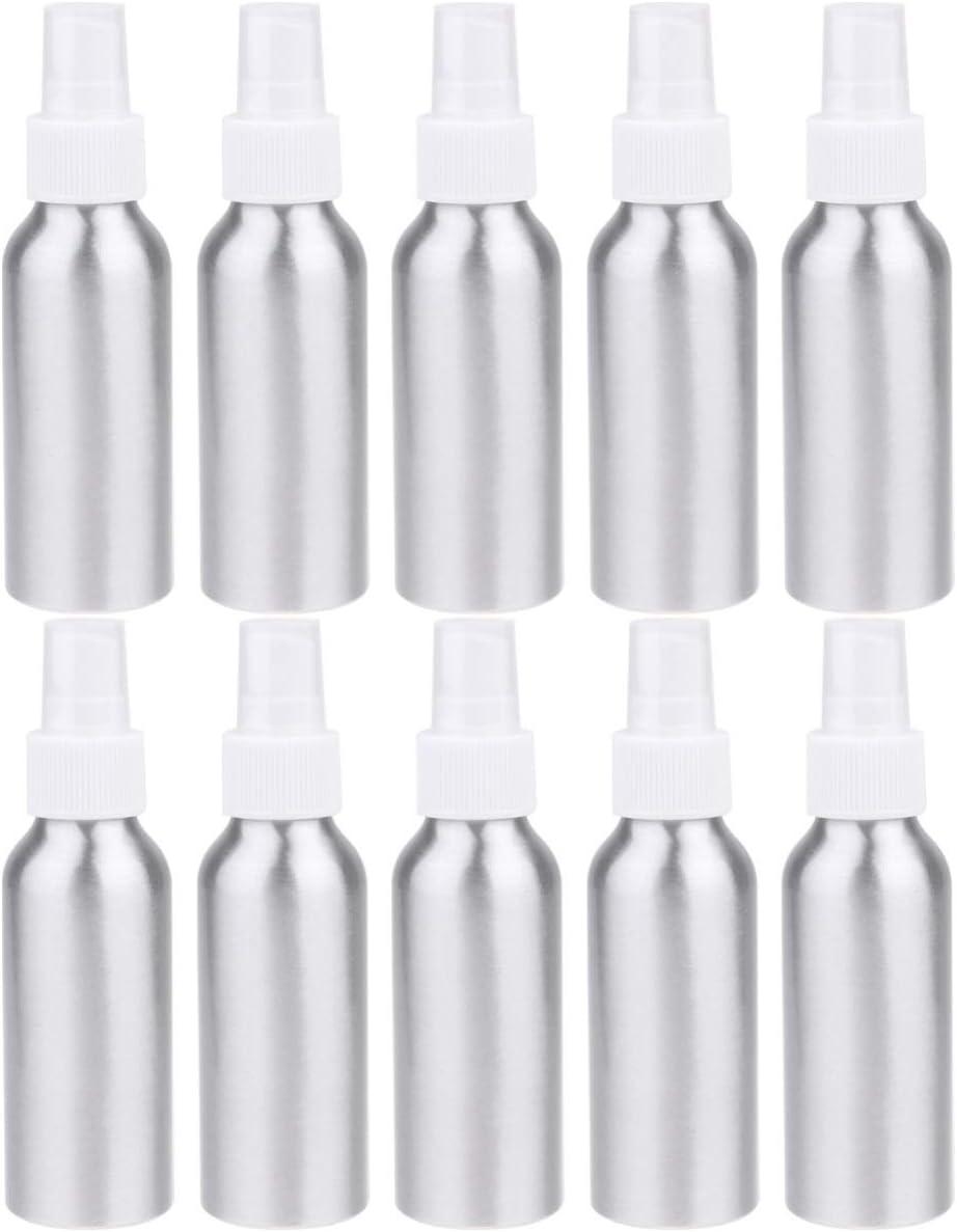 EXCEART 10 Piezas Botellas de Aluminio Orar Boquilla Botella Botella de Spray Vacía Portátil Niebla Fina Perfume Atomizador Contenedor Recargable 100 Ml