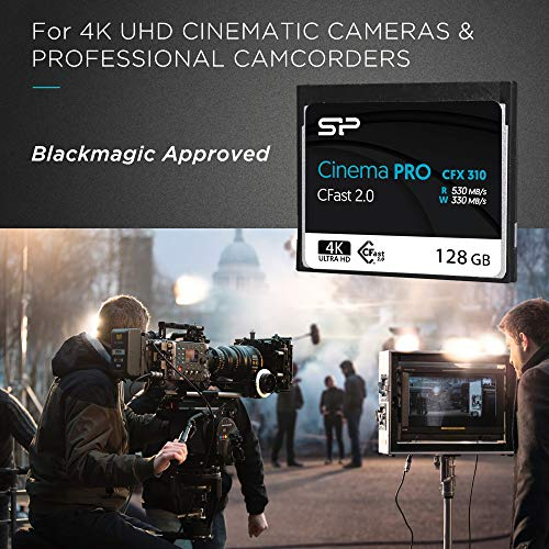 Silicon Power 128GB CFast2.0 CinemaPro CFX310 Memory Card, 3500X and up to 530MB/s Read, MLC, for Blackmagic URSA MINI, Canon XC10/1D X MARK II and more by Silicon Power (Image #1)