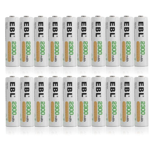 EBL 20 Pack 2300mAh Ni-MH Precharged Rechargeable AA Batteri