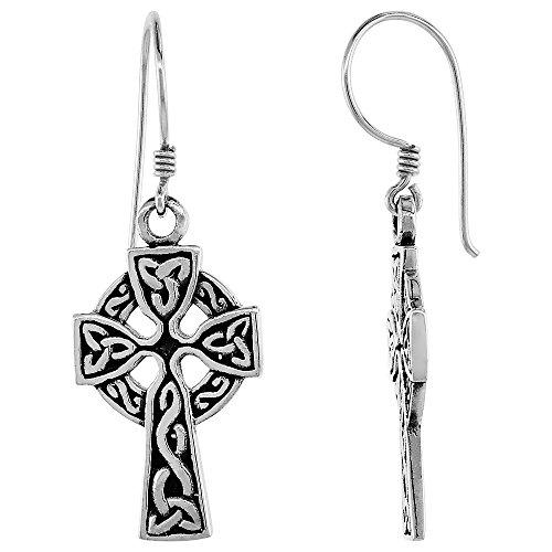 Sterling Silver Celtic Pattern - Sterling Silver Celtic Cross Earrings Triquetra Pattern,1 inch long