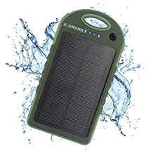Solar Charger, X-DNENG 12000mAh High Capacity Portable Solar Power Bank Waterproof Shockproof Dustproof Solar Battery Charger Dual USB Port LED Light for CellPhone iPhone iPad Samsung Android and More